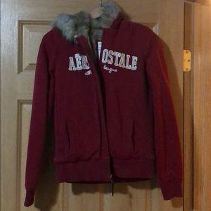 Aeropostal fur lined hoodie, worn once